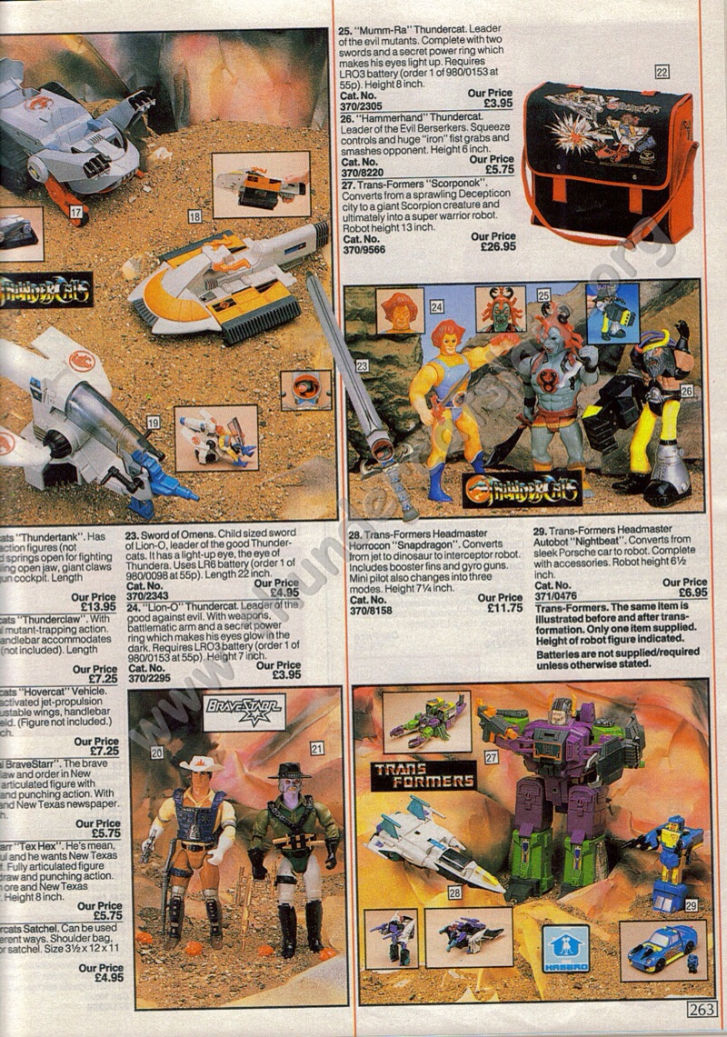 Thundercats, BraveStarr, Transformers