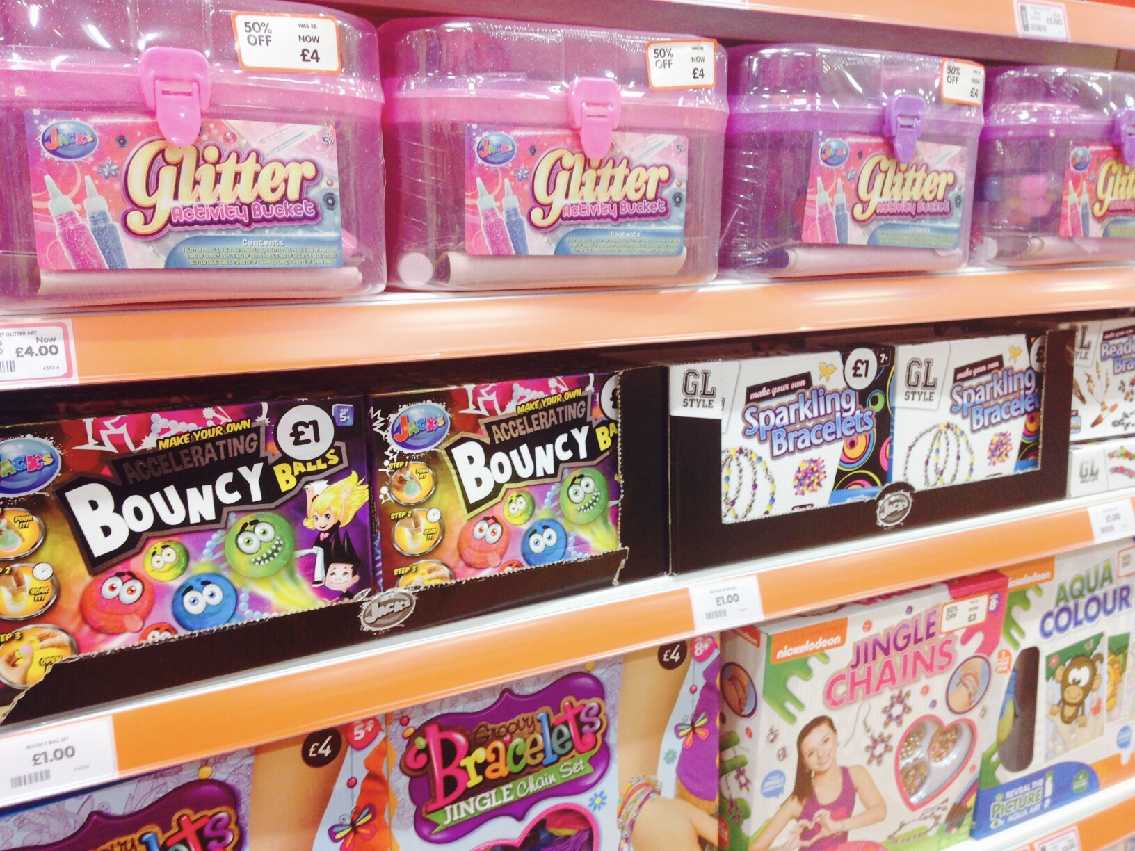 Glitter activity bucket only £4, other games £1