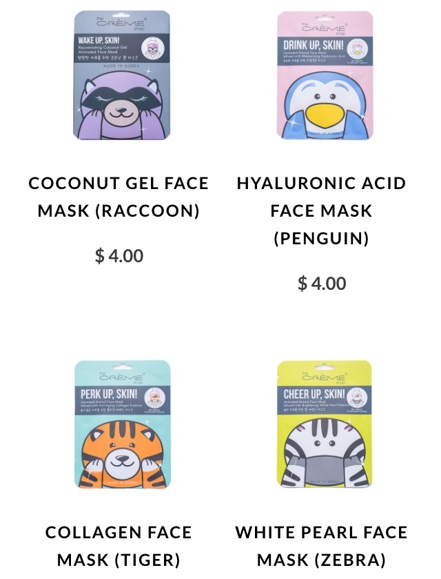 Animal Sheet Masks from The Creme Shop- Walk Around Your