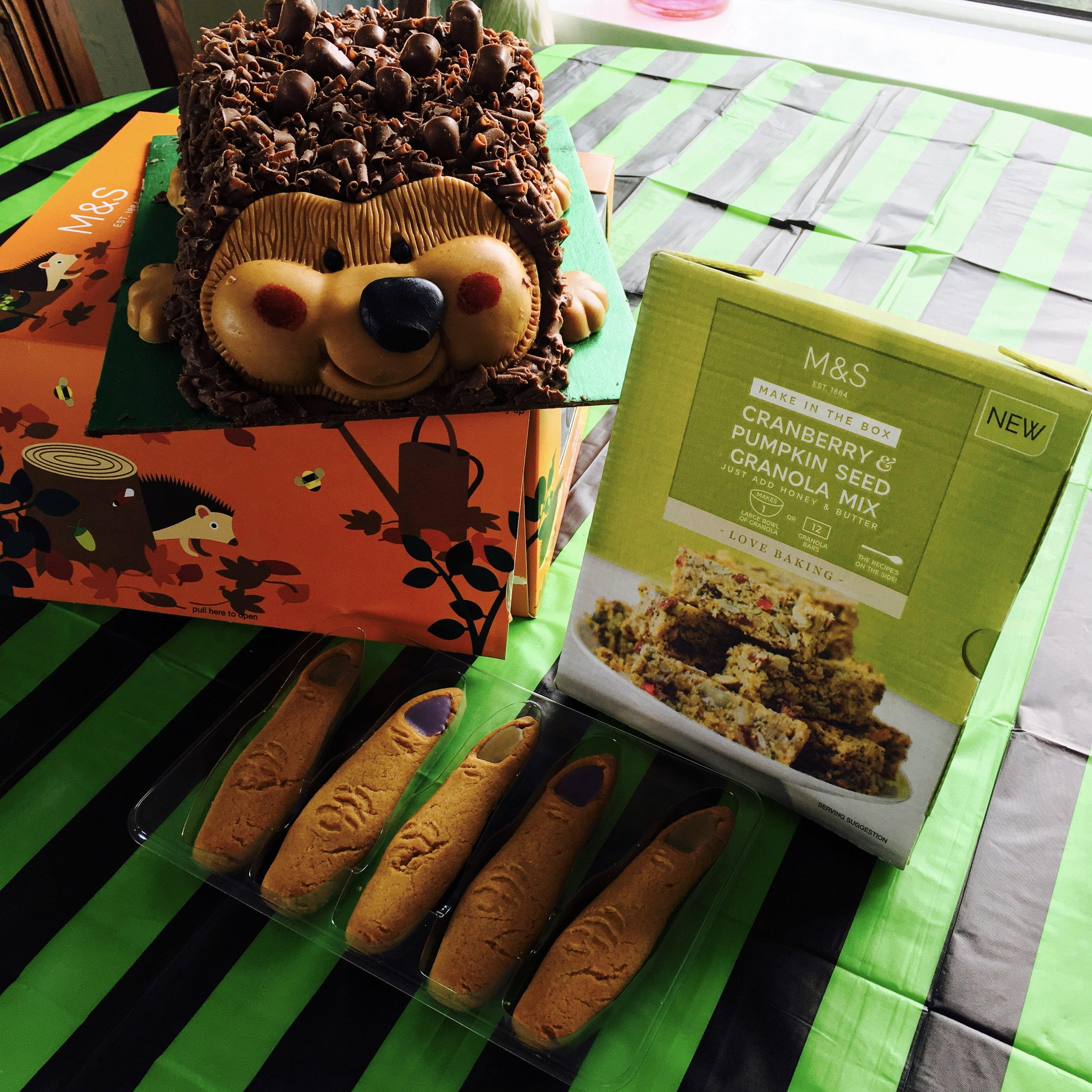 Harry hedgehog £10 : granola mix £2.50 : witches' fingers £1.50