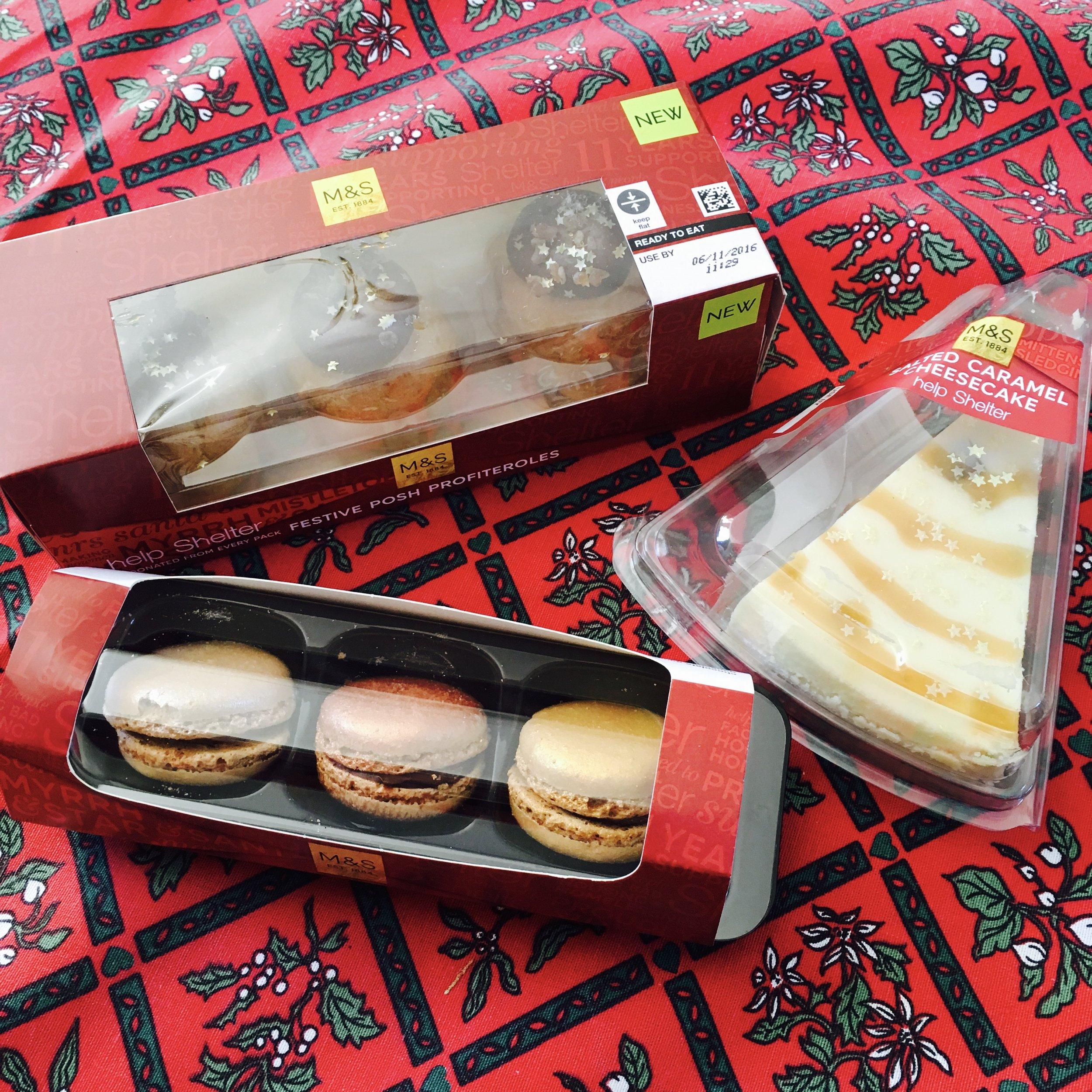 Profiteroles £2 : Cheesecake £2 : Macaroons £1.75