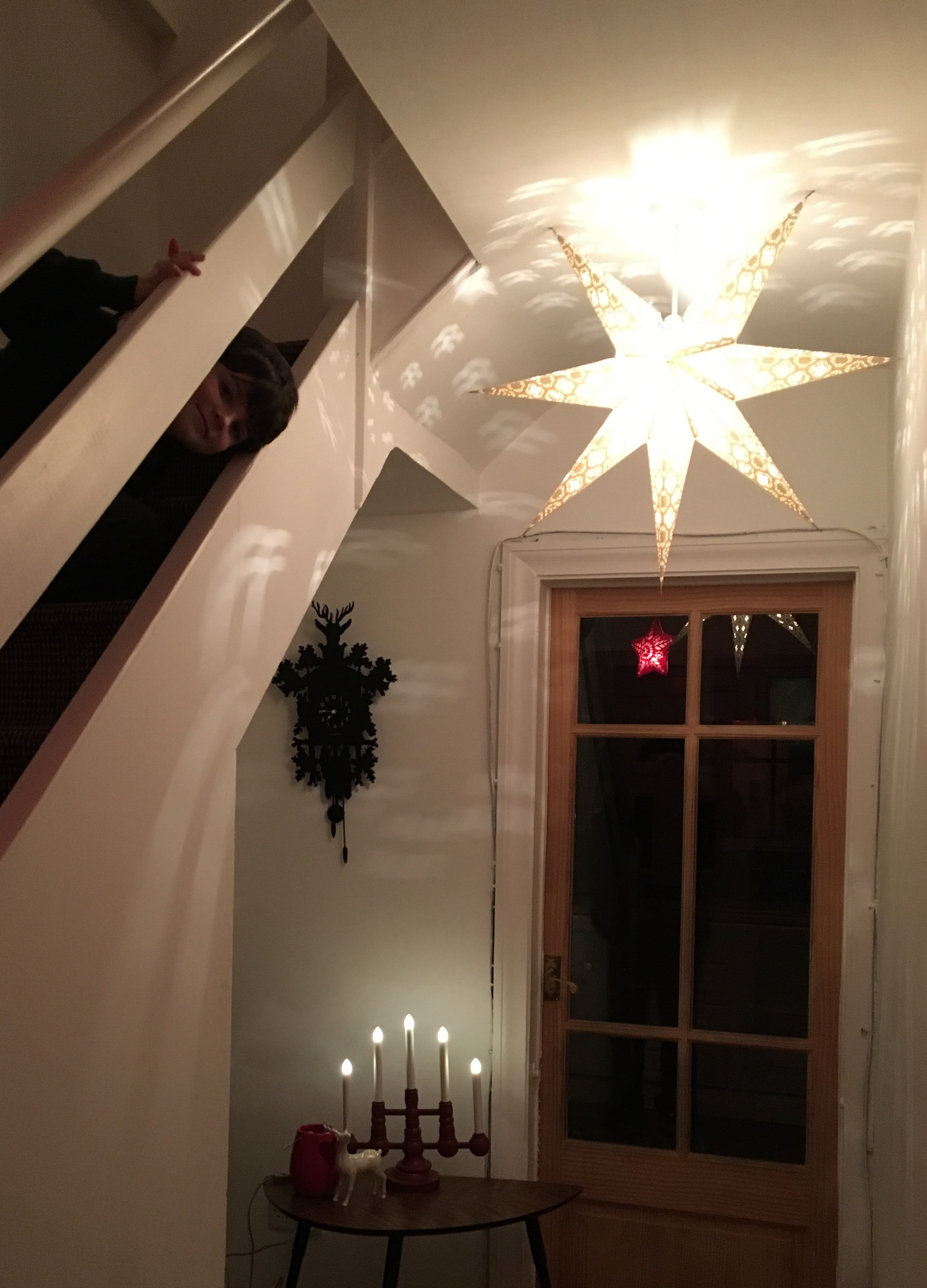 STRALA white star on roof fitting, LED candelabra