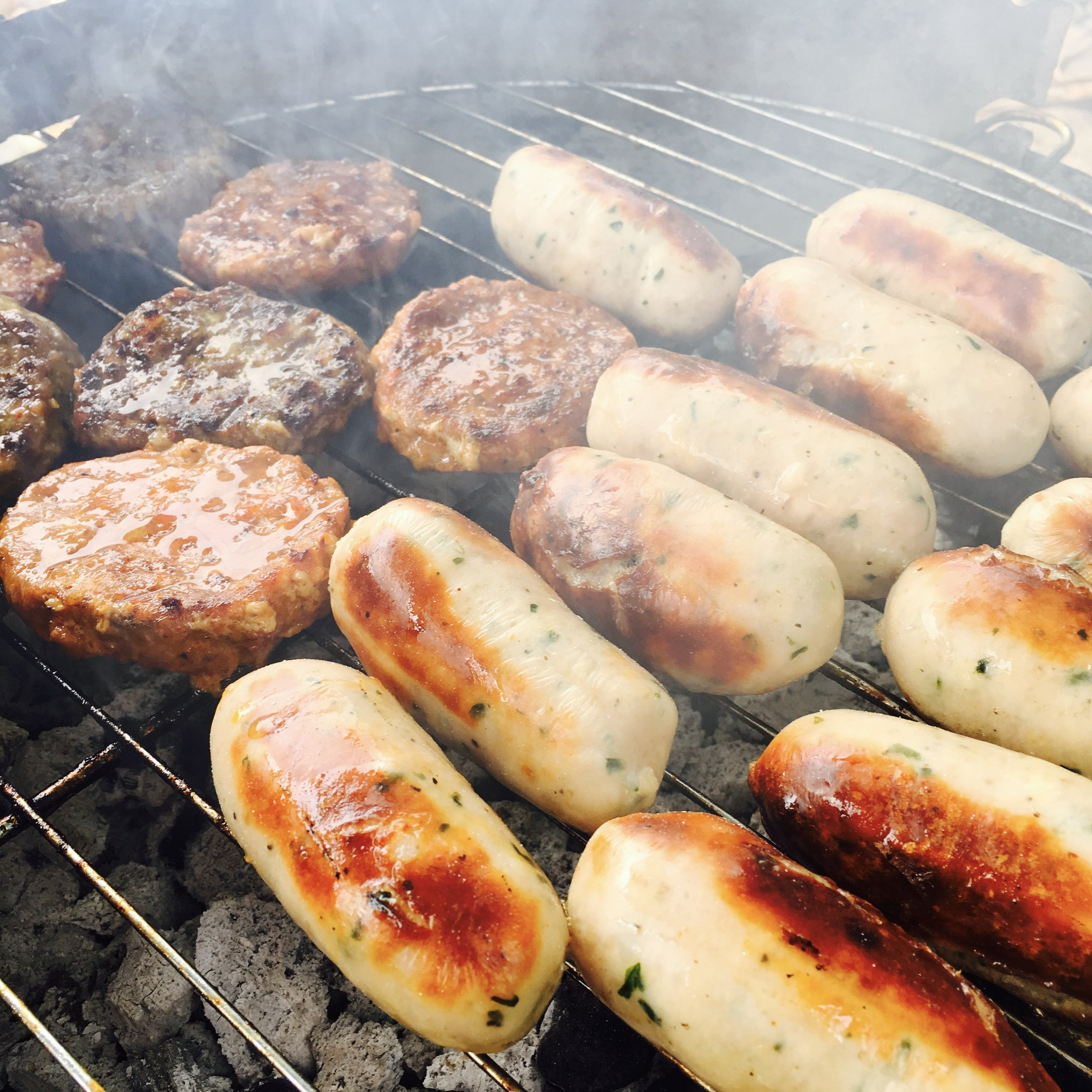 Chorizo sliders, Moroccan lamb sliders & Cornish Cove and bacon Posh Dogs on the grill!