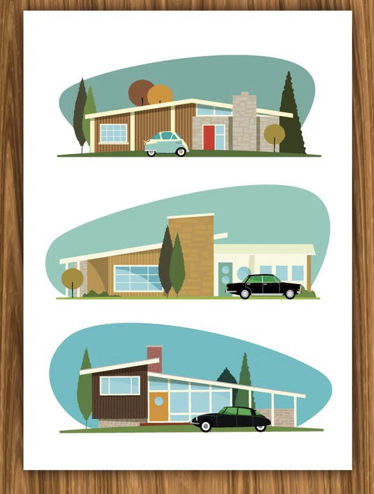 A3 Hollywood Bungalows print on Etsy £12