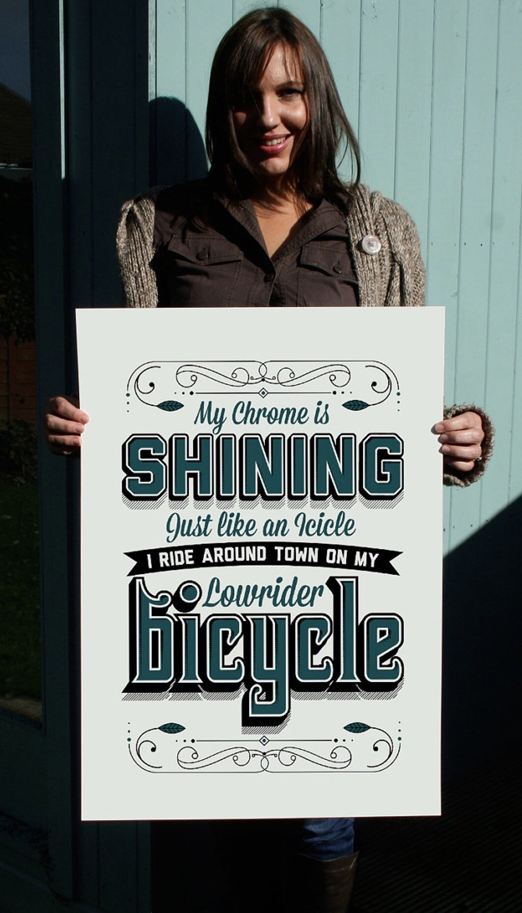 Neal's wife Julie with the Lowrider 500x700mm print on Etsy £15