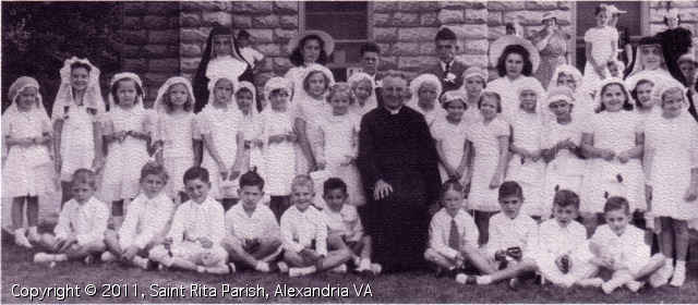 Father Koster and Mission Helps of the Sacred Heart, First Communion, 1943