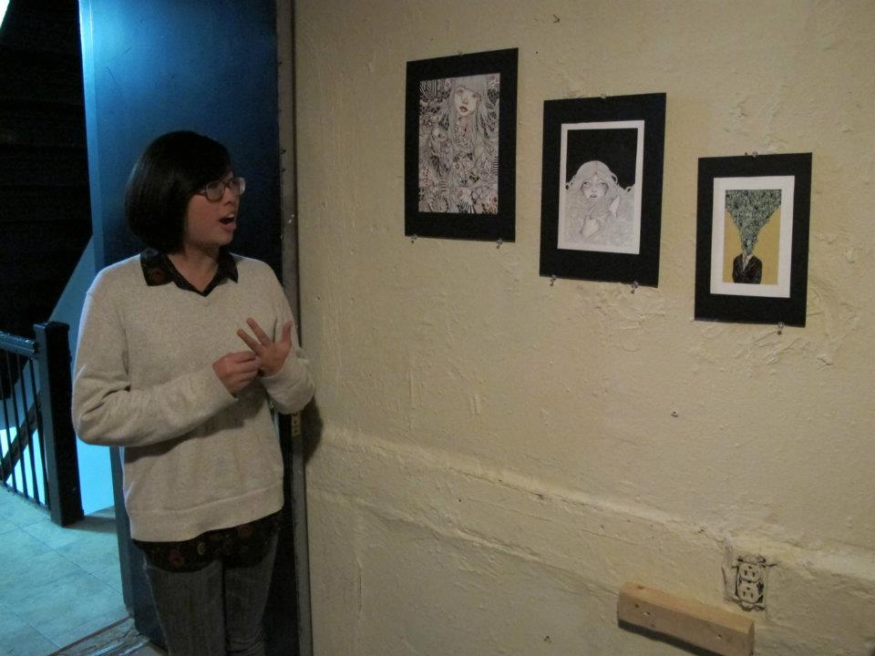 ose Wong presenting her works at a tenement in the lower east side of nyc in november 2011.