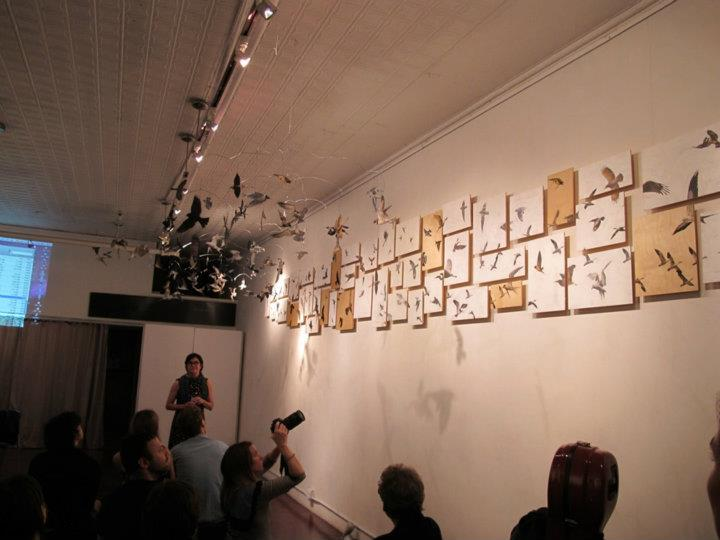 y Aviary by Rosalyn Bodycomb completely installed for the first time at animamus art salon september 2011.