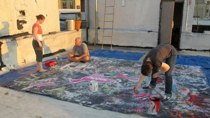 Meg Eldredge, Craig Zisel and Carly Bodnar painting on the roof july 2011.
