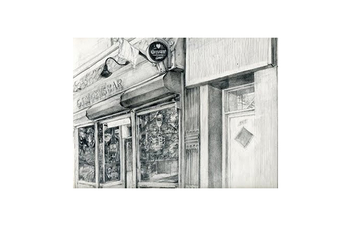 Harriet Faith, Ginger's Bar, Graphite on Paper, 4 x 6 inches, 2010  ​