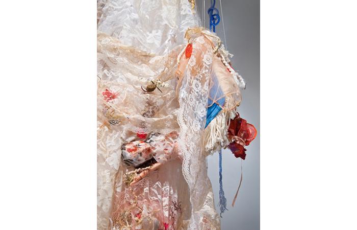 Aimee Hertog, Bluebeard the Sociopath's Closet, Lace, Yarn, String, Sculptural Installation Detail, 2011