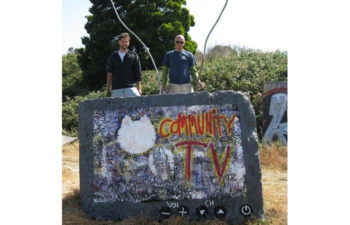 Ben McKelahan, Installation View of Community TV, Concrete, Paint, Dimensions Varied, 2012