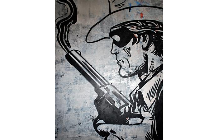 """Jacob Thomas, Lone Ranger, Acrylic on Wood, 48 x 36"""", 2012"""