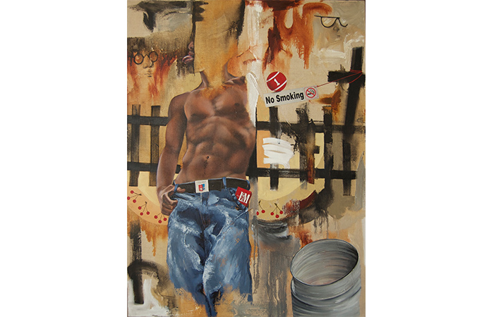 Constance Edwards Scopelitis, Life's a Gamble, OIl on Linen with Cigarette box, 48 x 30 inches, 2012