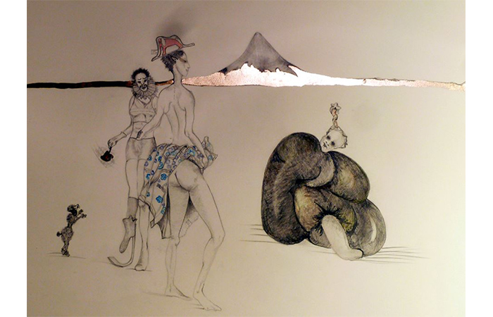 Mars Gomes, The Underworld, Graphite on Paper, 47 x 31 inches, 2013