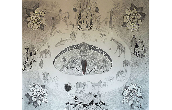 Mars Gomes, Born This Way, Graphite on Paper, 74 x 61 inches, 2013