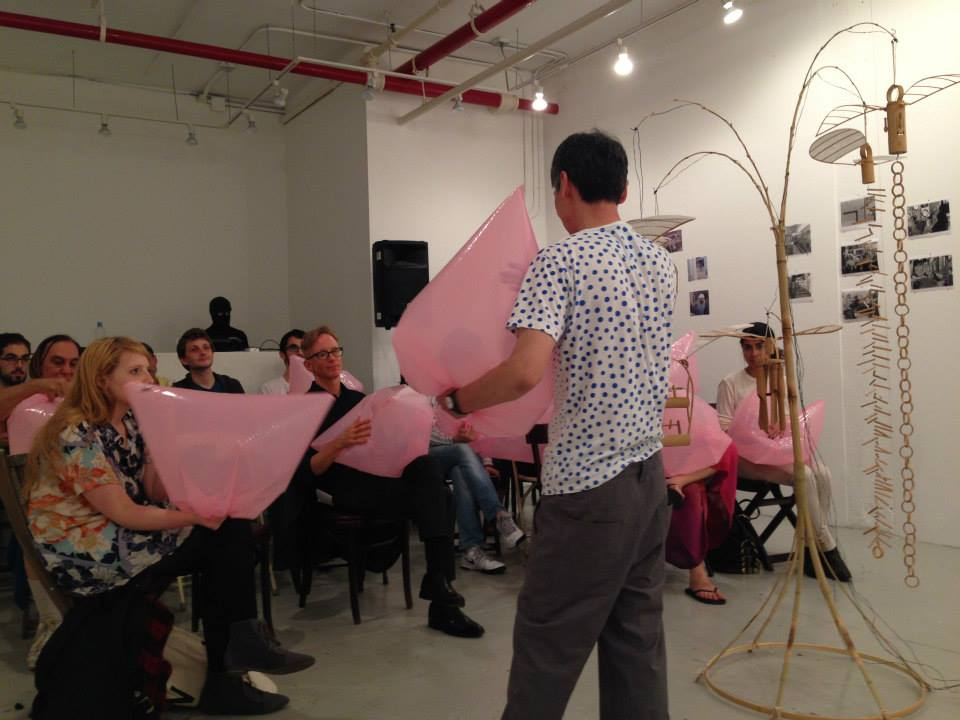 Akinori Matsumoto creates a musical masterpiece with hand made plastic instruments at brooklyn fire proof, September 2014.