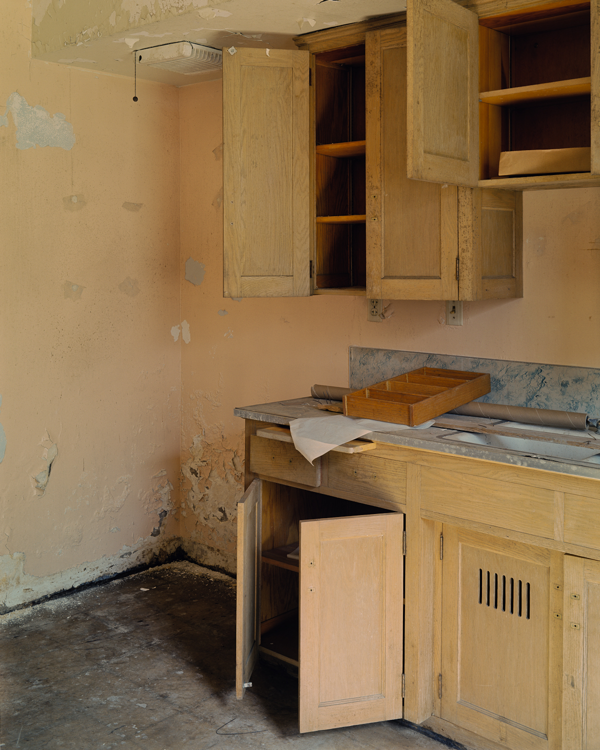 Kitchen of basement apartment, Dormitory Building.