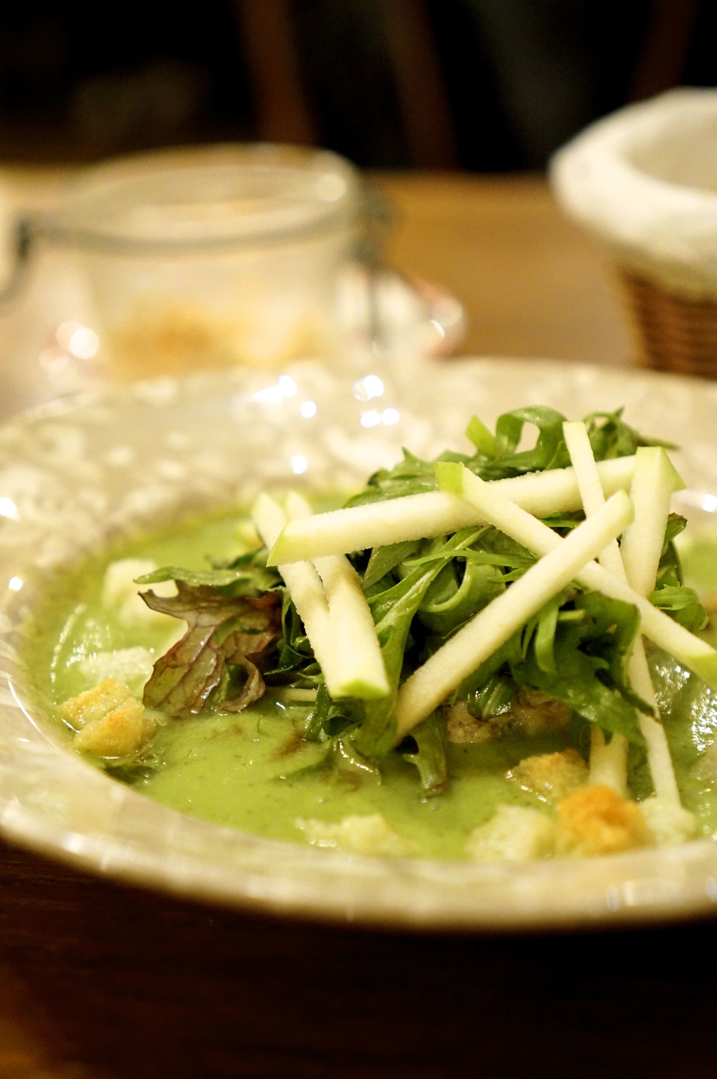 Crab with mizuna, cucumber-tarragon.