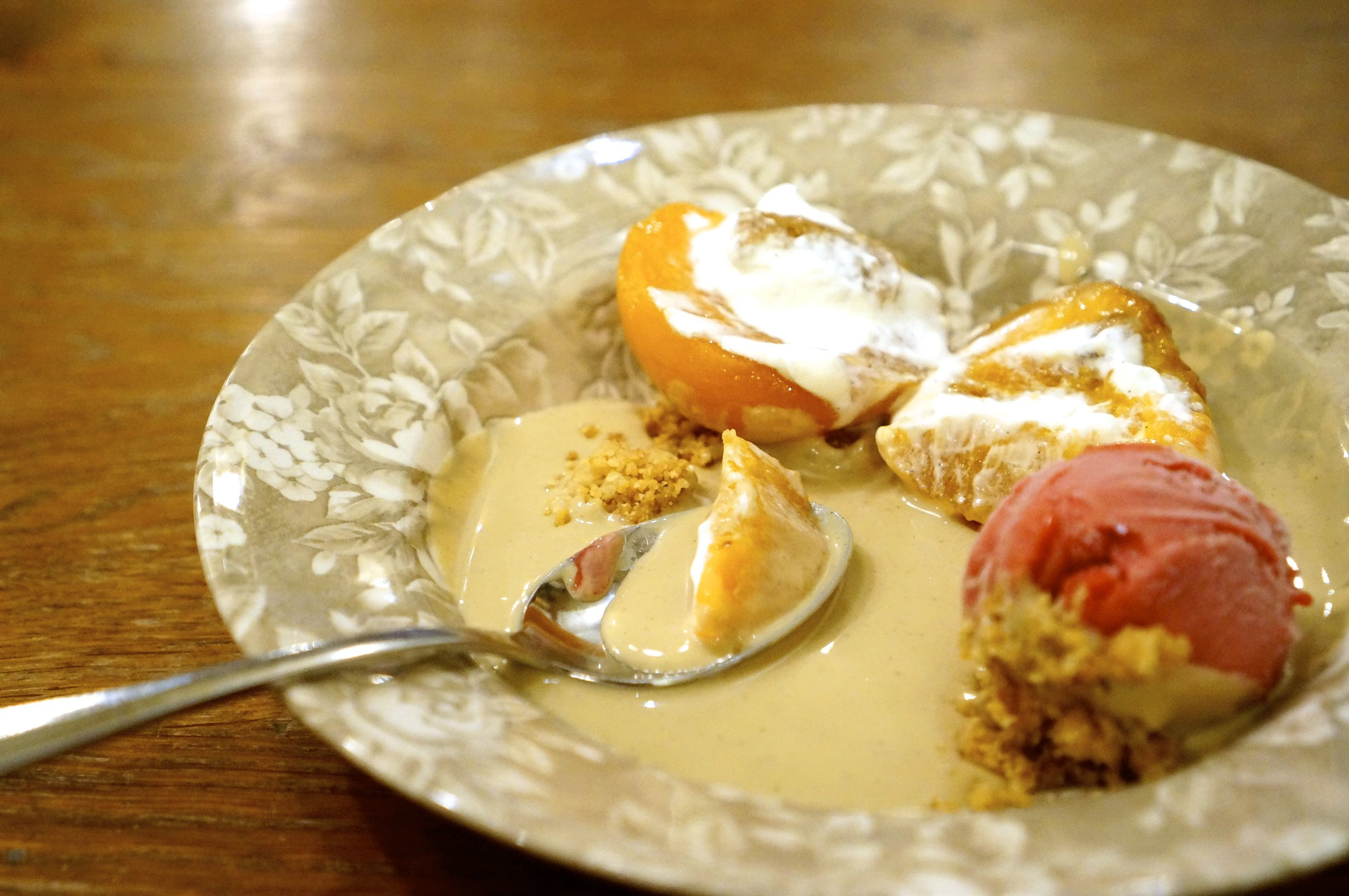 Roasted peach and hazelnut cream with sorbet.