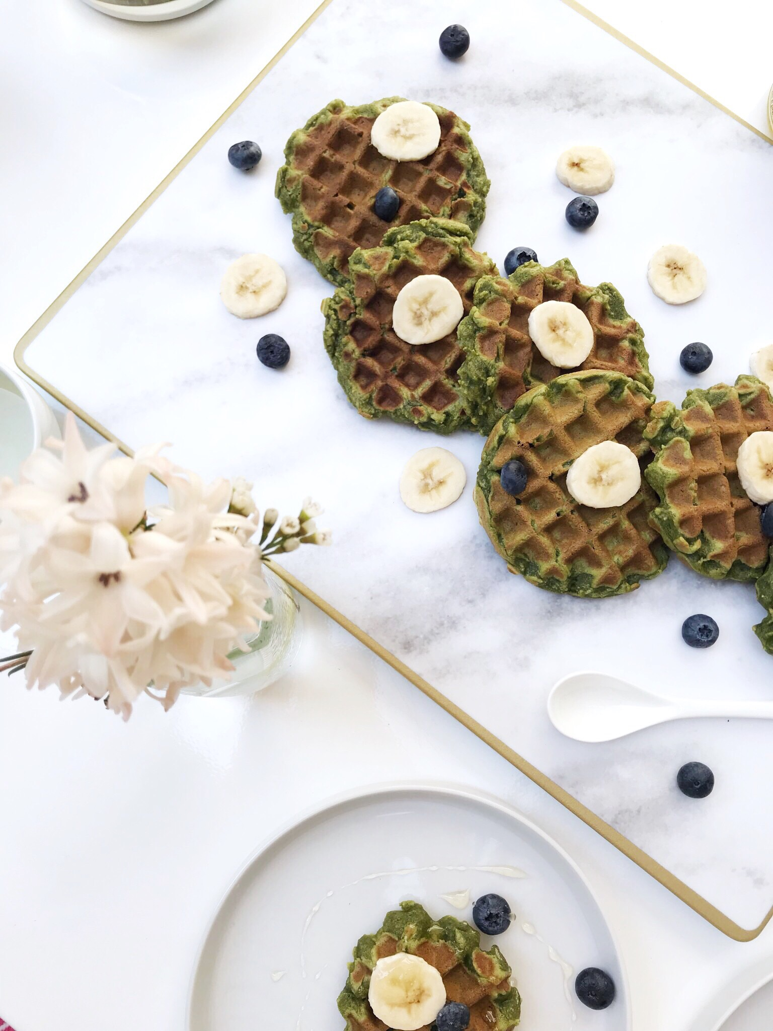 matcha mochi waffles honey and velvet