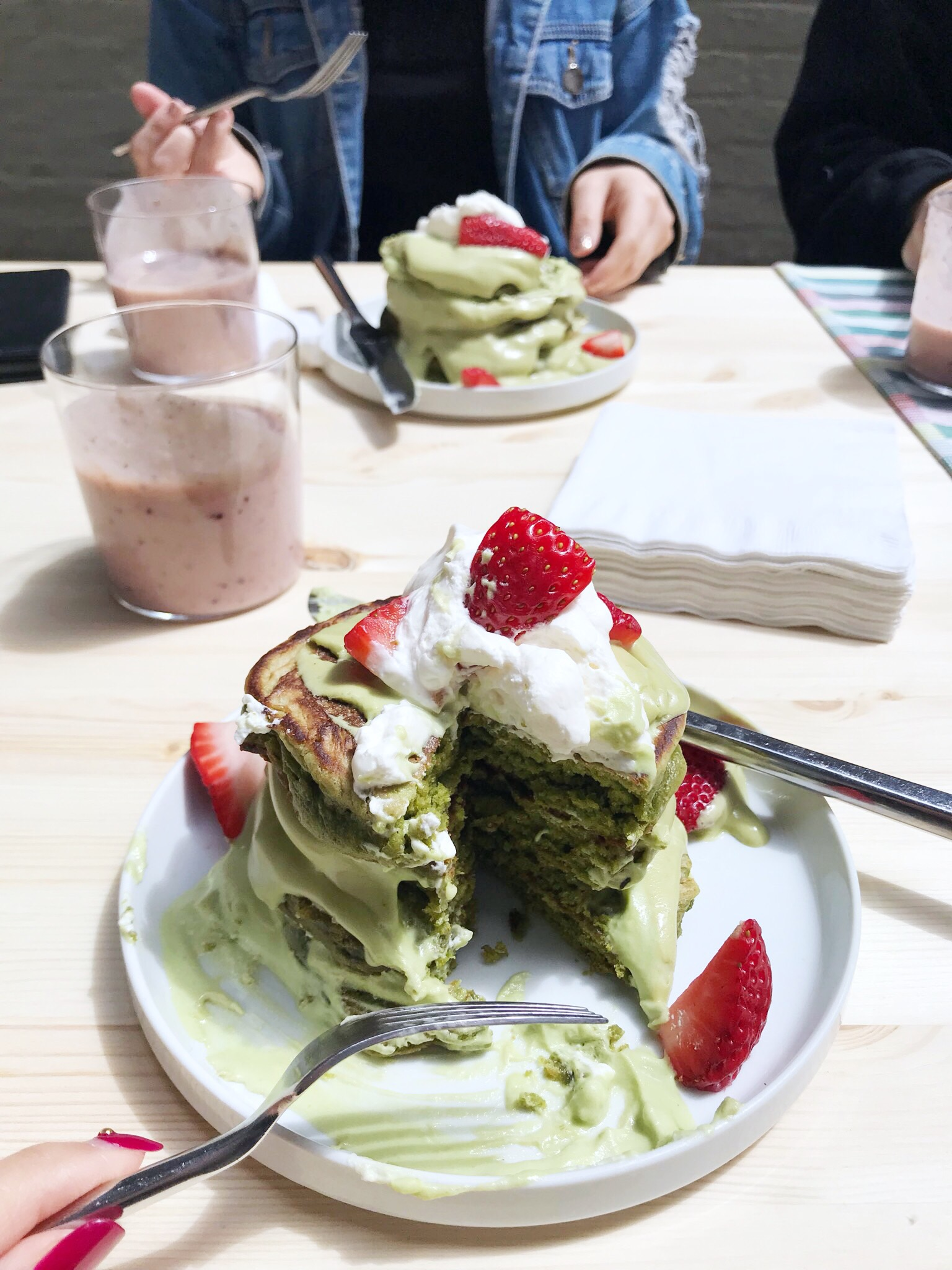 ma matcha pancakes with matcha coconut cream