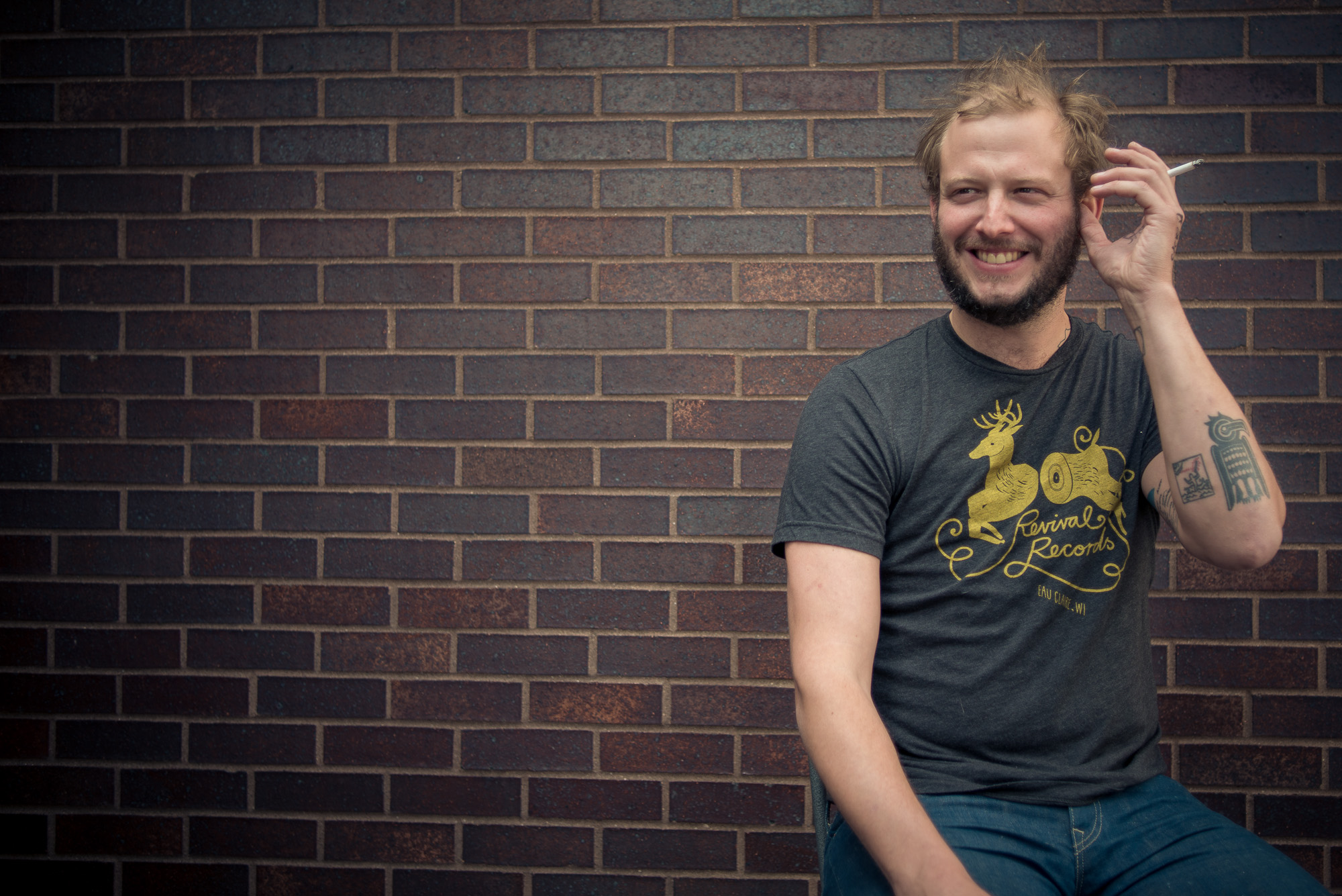 What a way to end the week. Justin Vernon, the musician behind Bon Iver, was at The Current to record a Theft of the Dial, and an interview for the Local Show. I had a few minutes during a recording break to make a few portraits. Here's a little moment from the shoot.