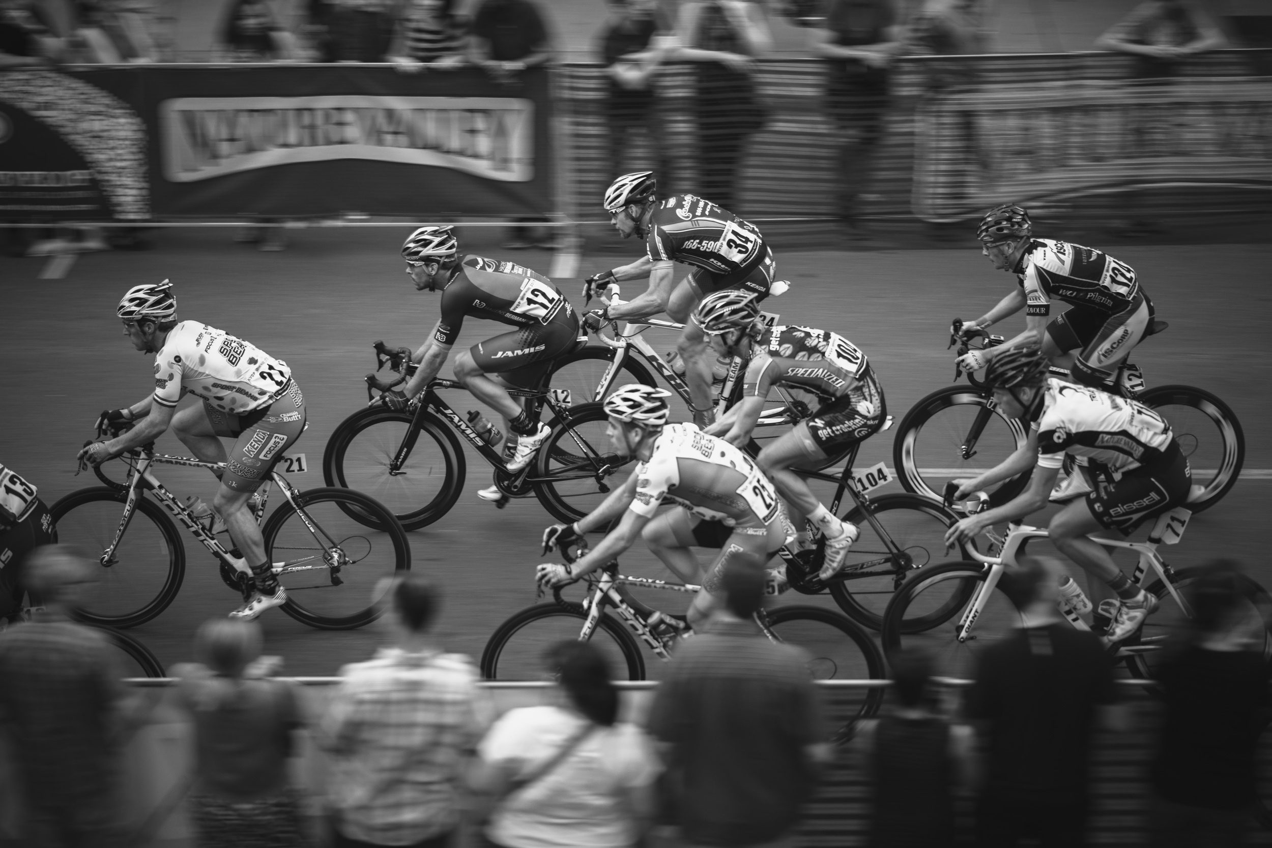 Nature Valley Grand Prix riders speed down Hennepin Ave in the Uptown neighborhood of Minneapolis.