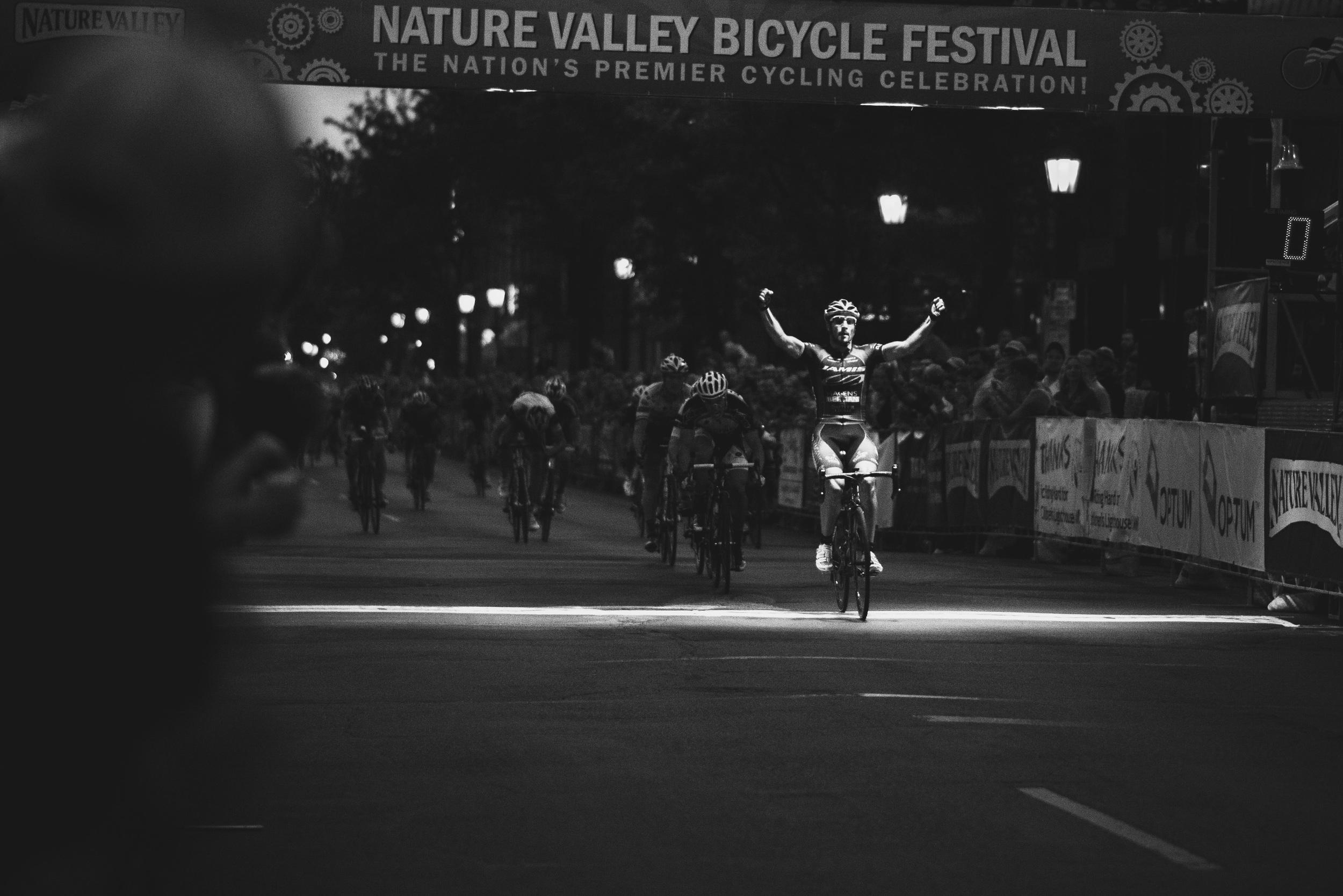 Juan Jose Haedo celebrates across the line as he wins the stage.