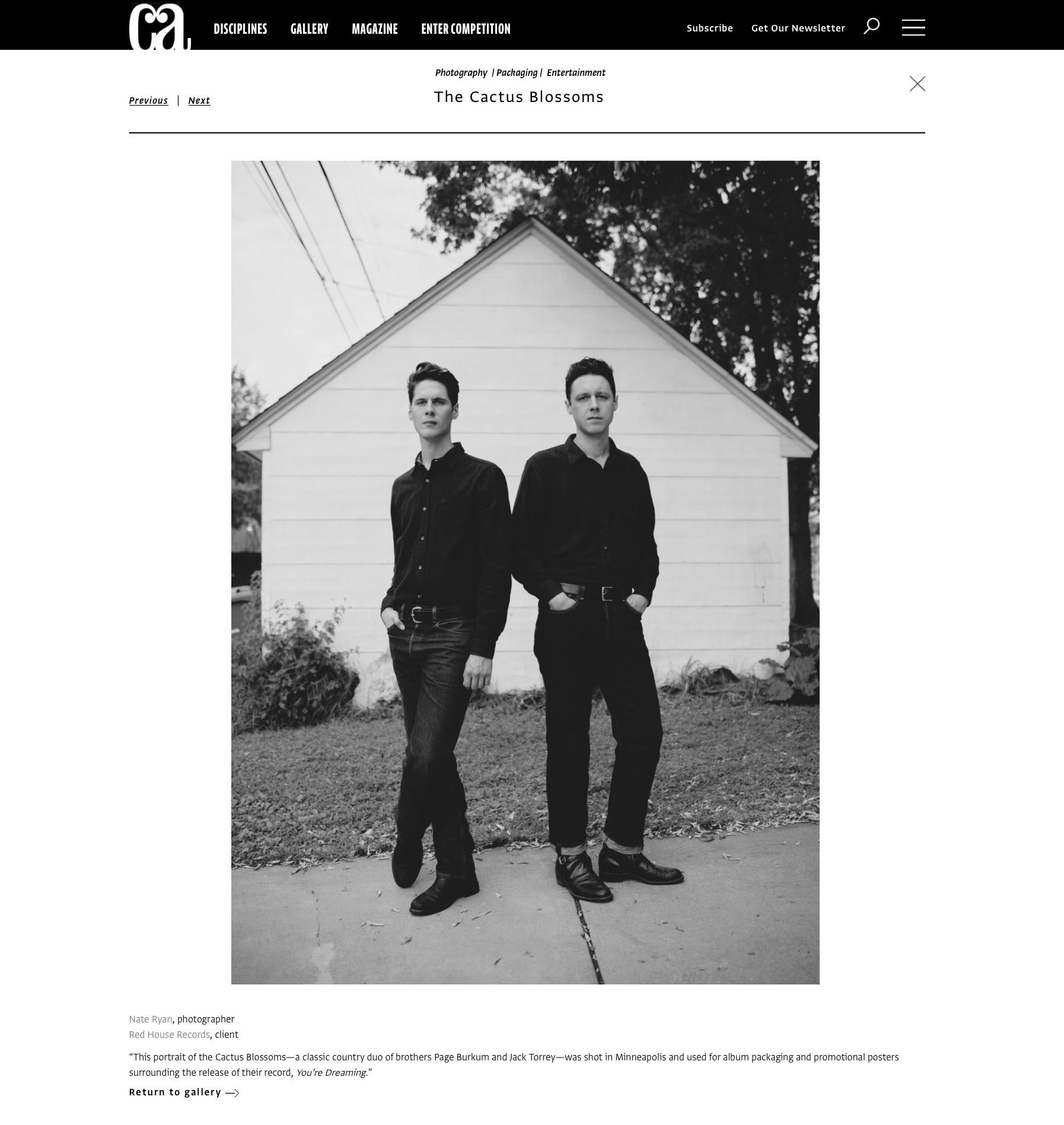 Nate Ryan Communication Arts Award winning Photo - The Cactus Blossoms. CA Photo Annual 2016. Commarts