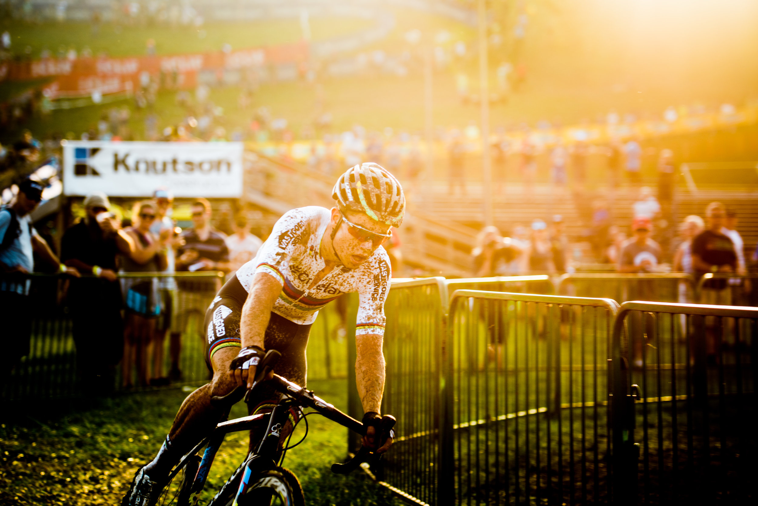 World Cyclocross Champion, Wout Van Aert of Belgium leads the World Cup race.