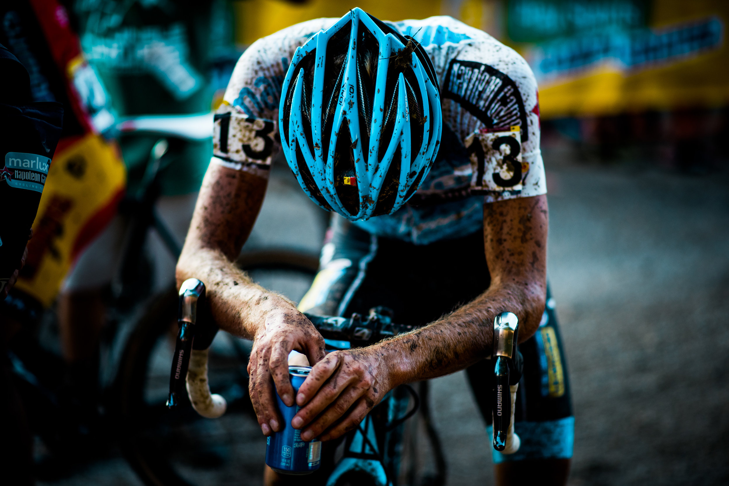 Dieter Vanthourenhout of Belgium, exhausted after the UCI World Cup race.
