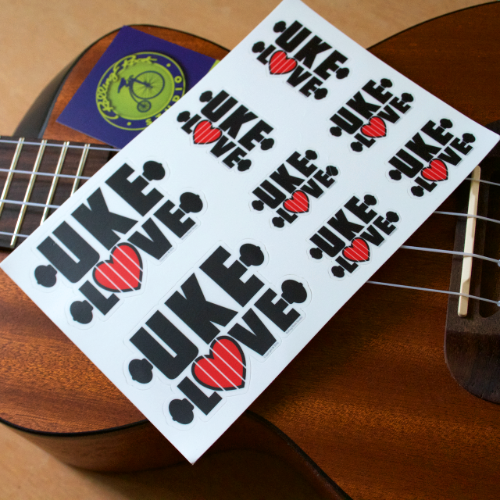 Photograph of actual sheet of stickers from Sticker Mule.