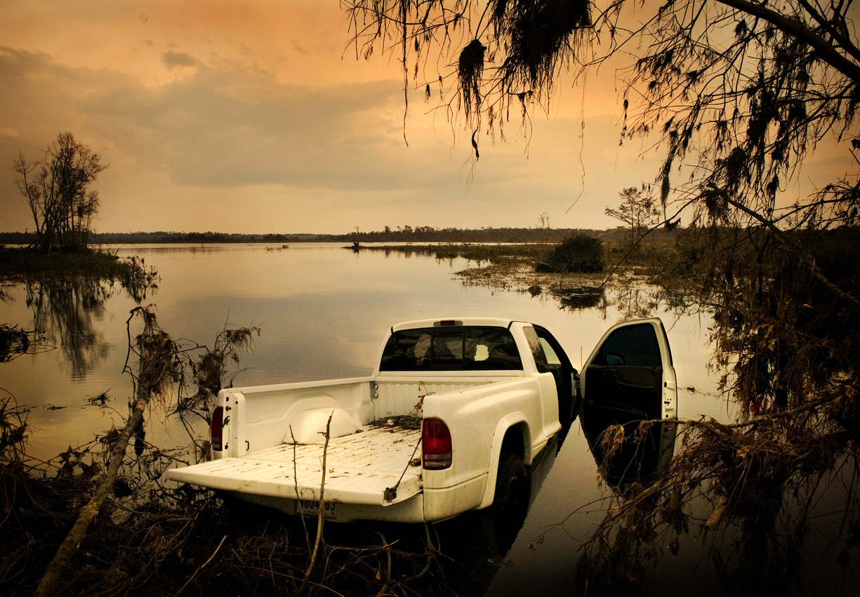 Truck washed into the bayou, Old Highway 90, Louisiana