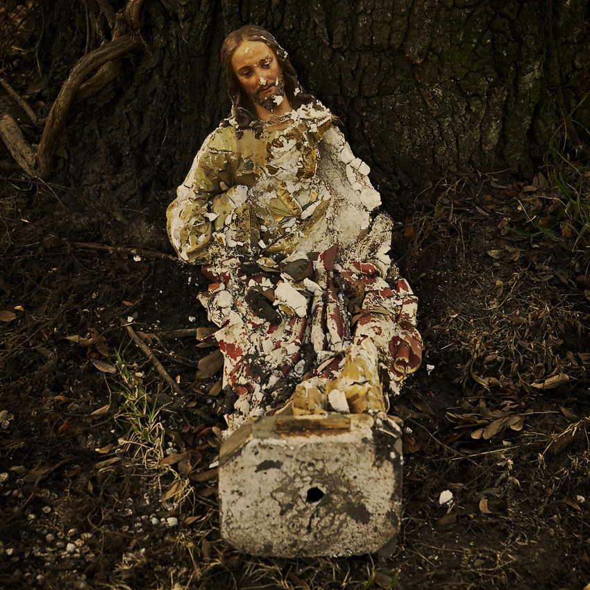 Shattered Jesus statue, Pearlington, Mississippi