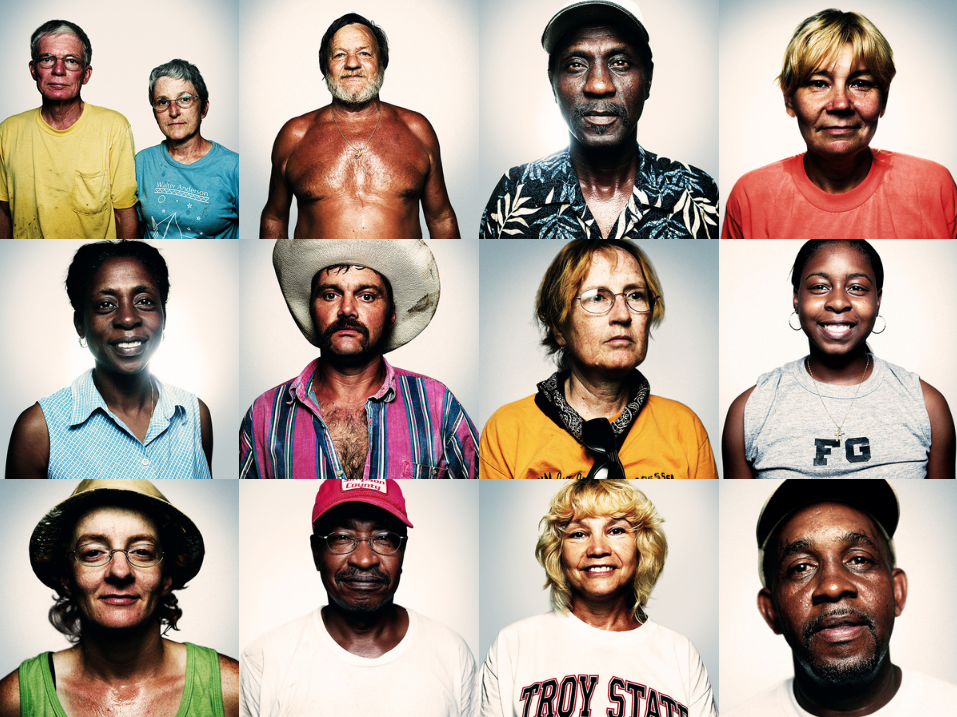 Hurricane Katrina survivors, photographed immediately after the storm