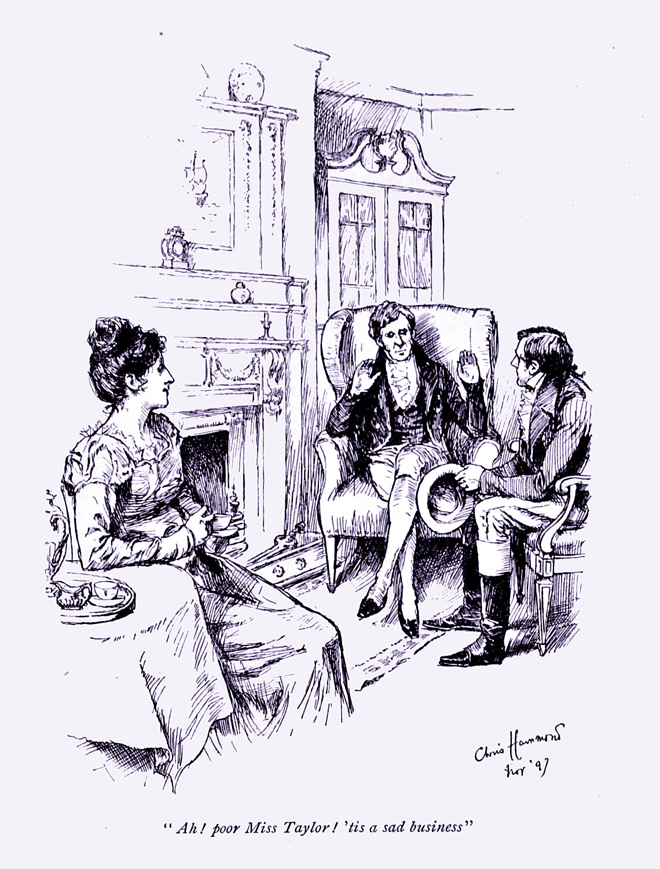 """Ah! Poor Miss Taylor! 'Tis a Sad business!"" Chris Hammond. 1898. Public Domain via Wikimedia Commons."