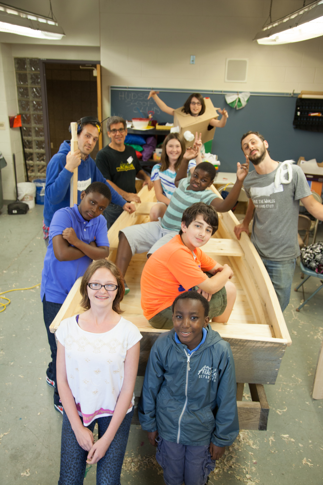 (the 6th graders and their boat!)