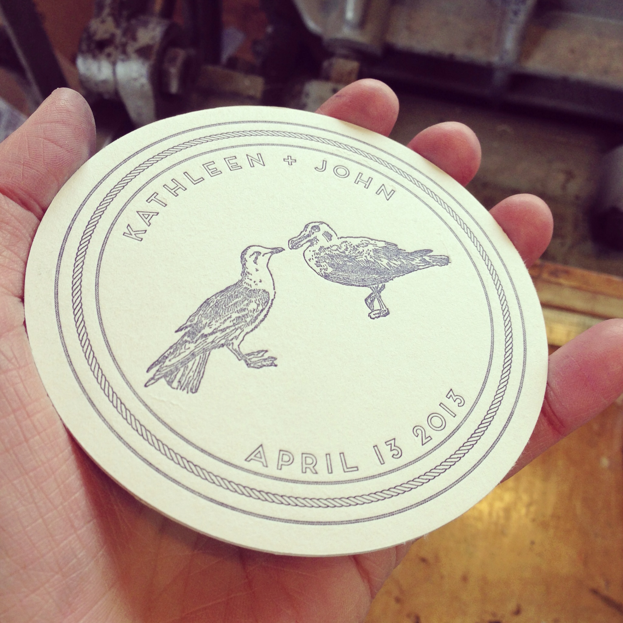 Coasters to match her theme, featuring the drawing by her brother, Matt Sander.