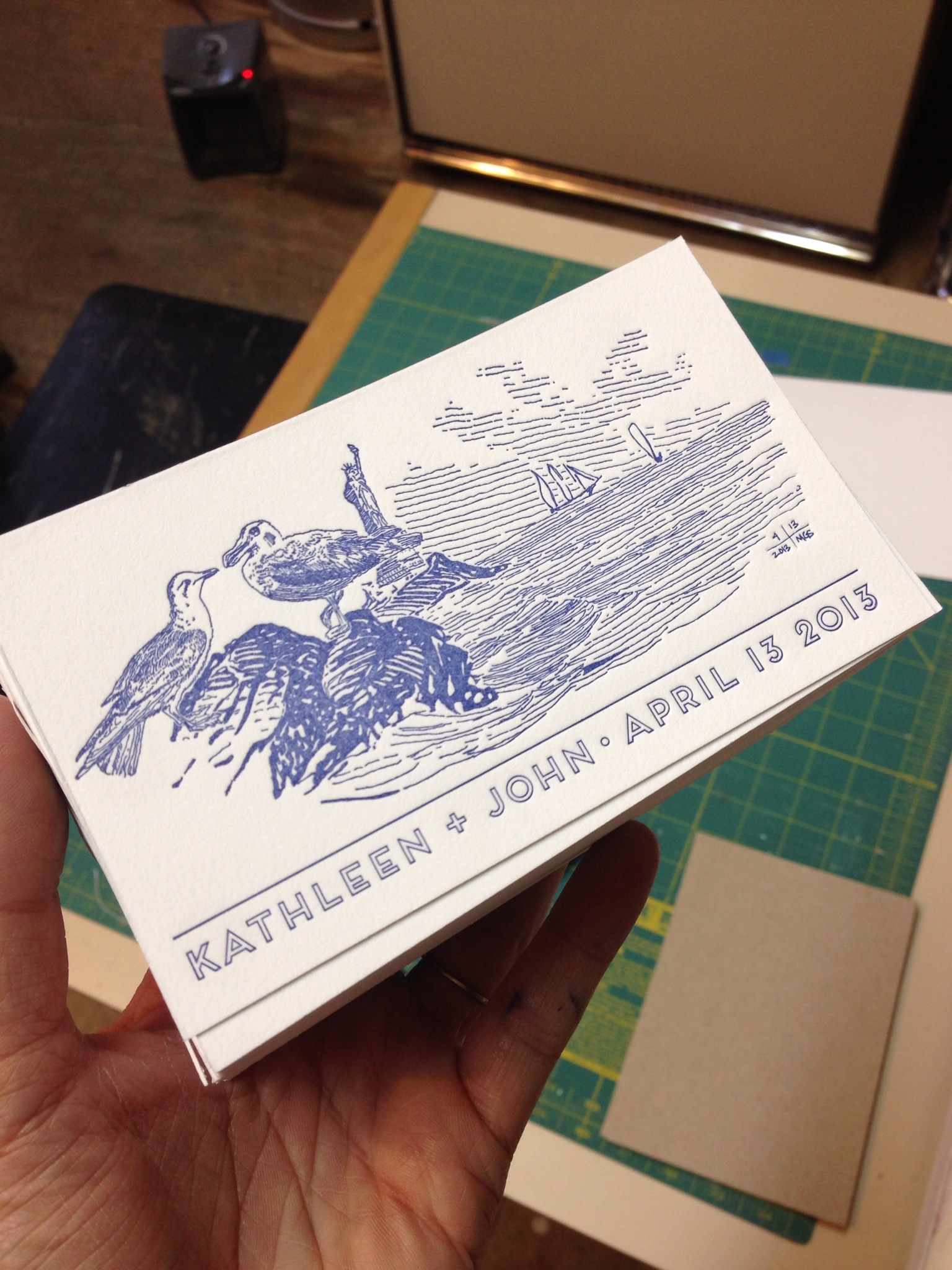 3x5 Cards featuring the entire drawing by Matt, to be included in welcome bags for guests