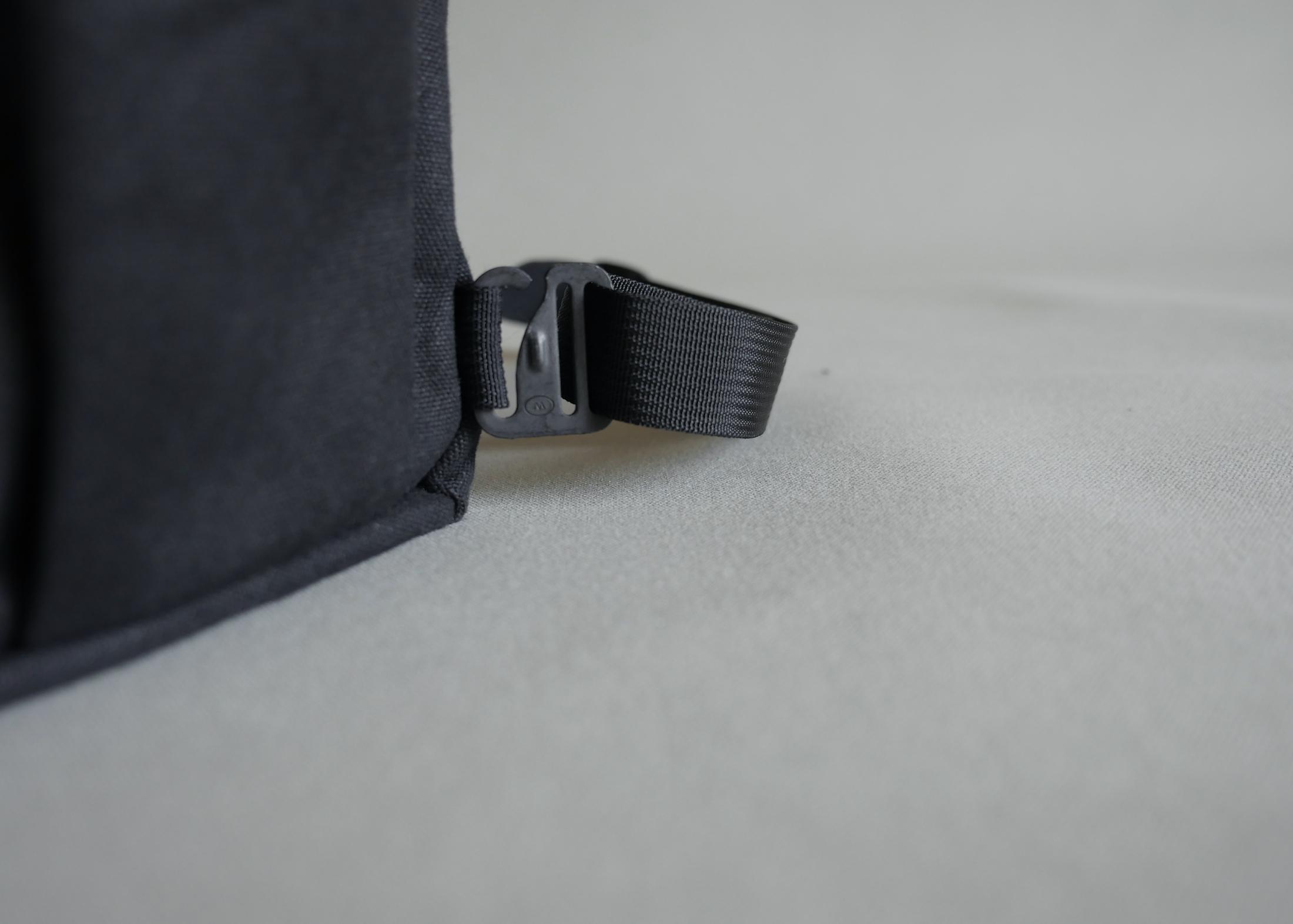 MIL-SPEC webbing, slide and clip that make up the backpack and shoulder straps.