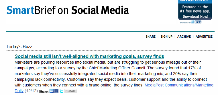 I subscibe to a newsletter called  SmartBrief on Social Media . It's a great collection of what's going on in social media packaged and sent on a daily basis. And that's where I saw this headline: 
