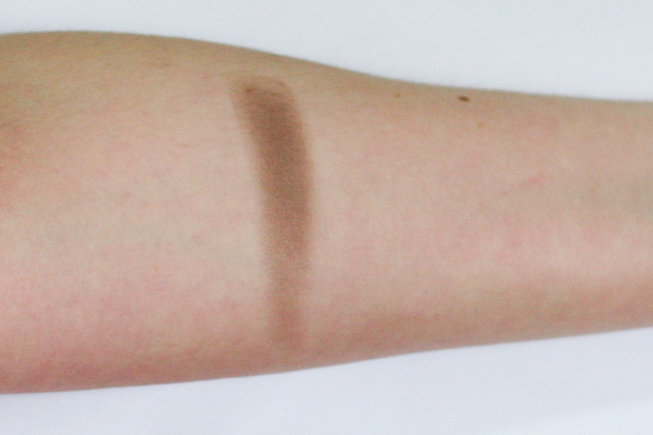 NYX eyeshadow in Iced Mocha swatched on my NC/NW 15–20 arm.