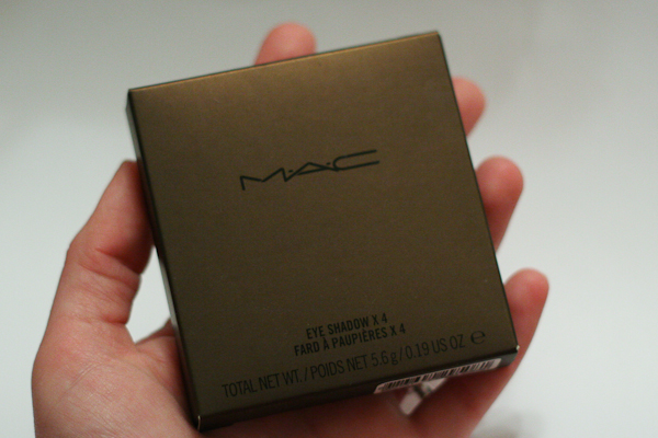 MAC's Bare My Soul eyeshadow quad comes in a shimmery brown box.
