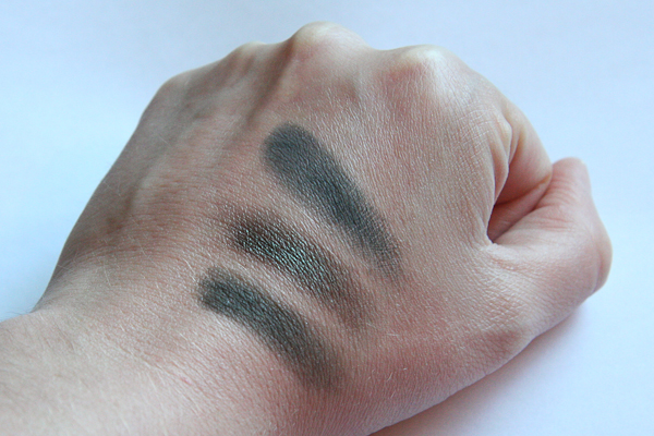 Comparison swatches, left to right (all shadows are MAC): Eat, Love, When In Rio, and Plumage. My only disappointment with Eat, Love is how similar it is to these other two colours.