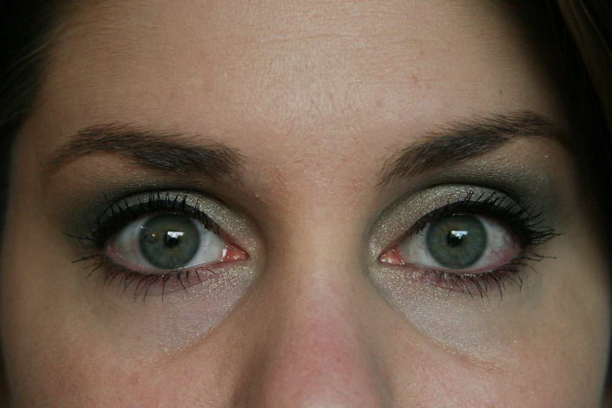 My eyes, sans concealer. I prepped the skin with MAC Fast Response Eye Cream (love) and a very little bit of primer and foundation—my undereye circles are even darker than this. (It sucks.)