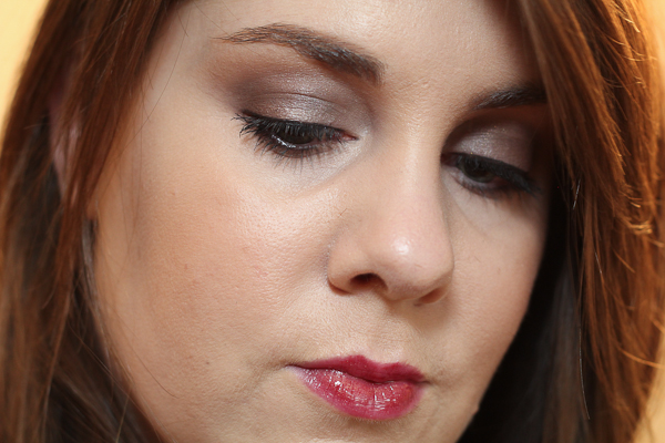 MAC Extra Dimension Eyeshadow in Silver Dawn and Lipglass in Hellbound from the Metallic Nude Collection.