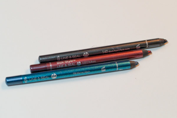 Styli-Style Line & Seal 24: Semi-Permanent Eye Liners in Black Pearl, Mulberry, and Marine.
