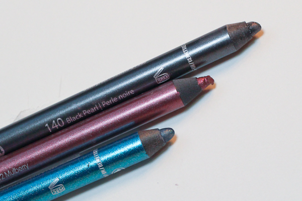 Styl-Style Line & Seal 24: Semi-Permanent Eye Liners in Black Pearl (top), Mulberry (middle), and Marine (bottom).