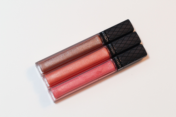 Revlon Colorburst Lipglosses. Top to bottom: Bronze Shimmer, Sunset Peach, and Peony.